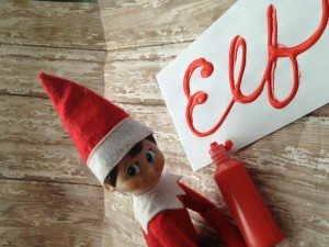 elf on the shelf writing his name