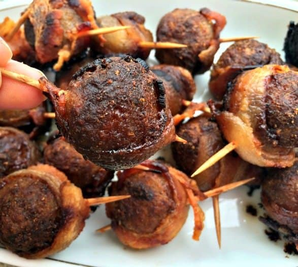 bacon wrapped honey glazed meatball
