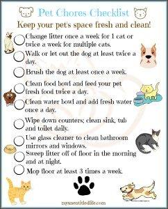 pet chores checklist