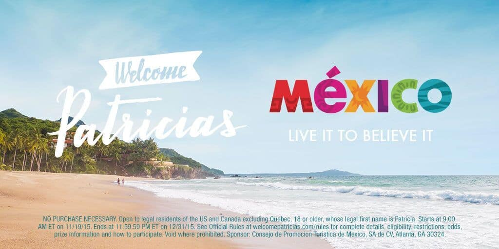 Welcome Patricias to Mexico Sweepstakes