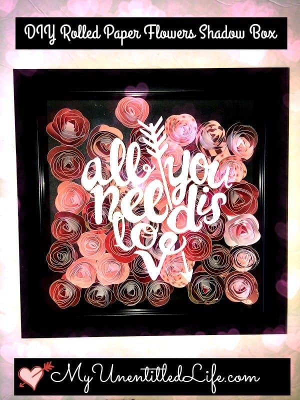 diy rolled flower shadow box craft