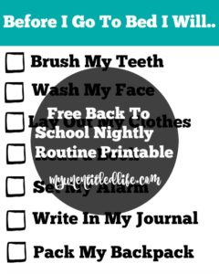 Free Back To School Nightly Routine Printable