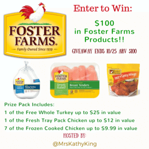Foster Farms $100 ARV giveaway 10/26 US