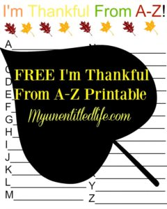 Free I'm Thankful From A-Z Printable