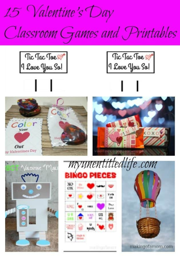valenines day classroom games, crafts and printables