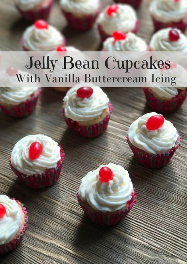 jelly bean cupcakes with buttercream frosting