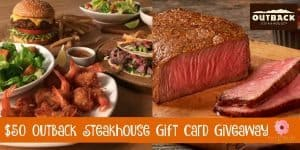 $50 Outback Steakhouse Gift Card Giveaway 4/7 US