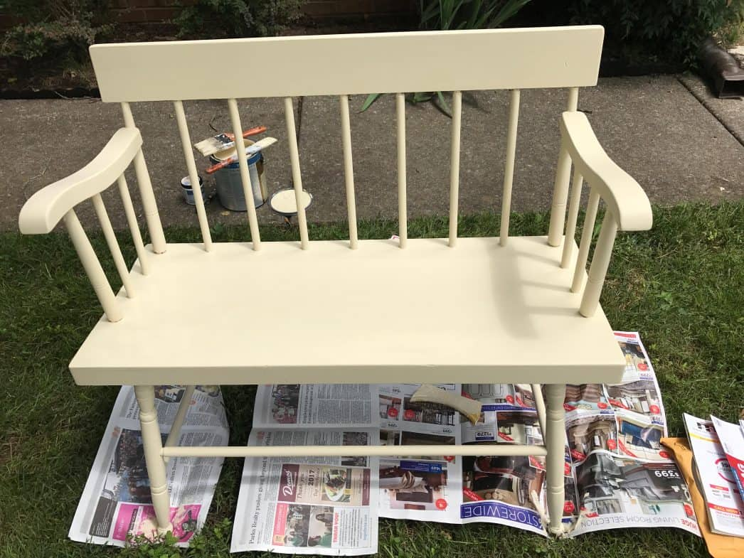 paint the bench outside in a ventilated area on paper