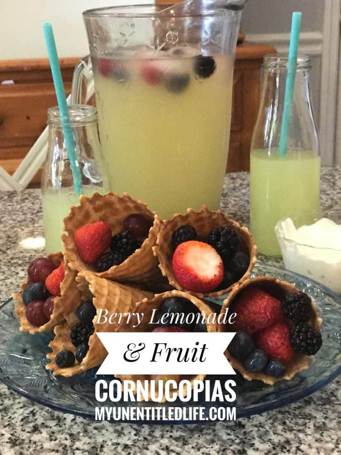 berry lemonade and fruit cornucopias