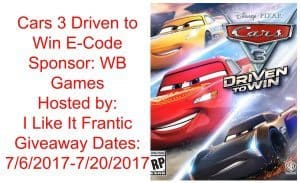 Cars 3 Driven to win giveaway 7/20 US