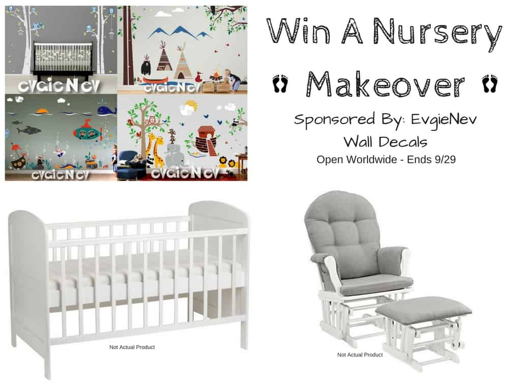 Evgie nursery makeover #giveaway. Grab some cute decals for those nursery walls! @evgie #baby #walldecals