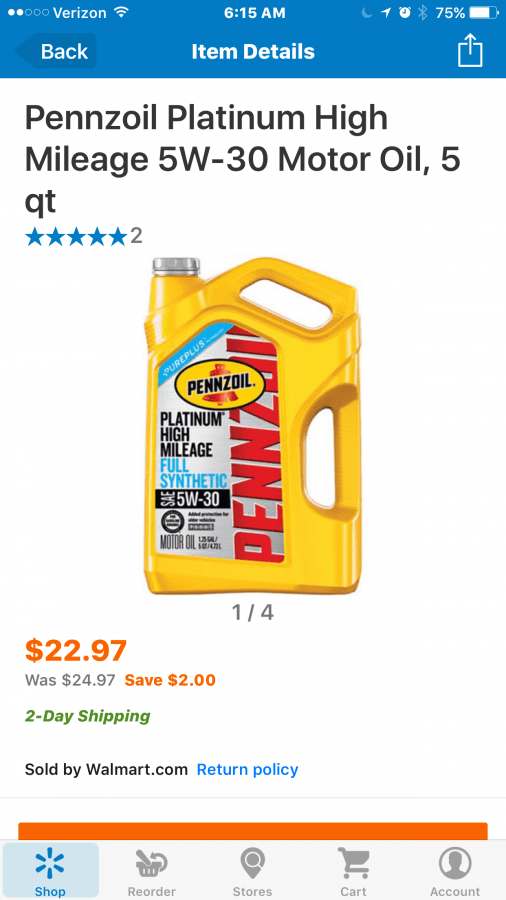grab your pennzoil for high milage cars from walmart