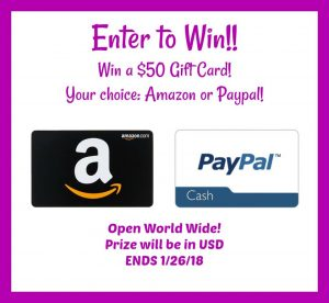 $50 Paypal or Amazon giveaway 1/26 WW