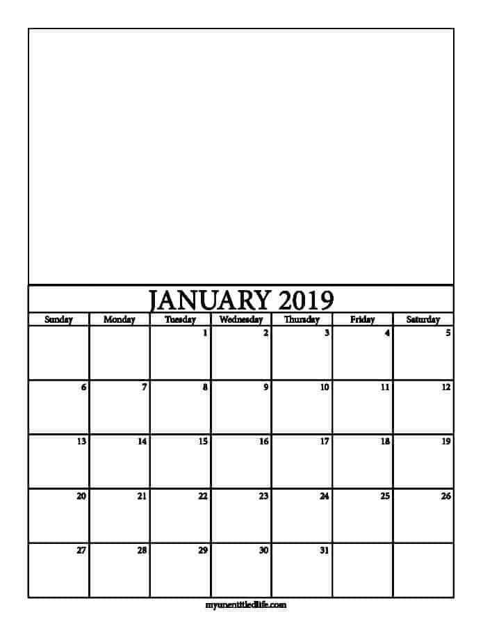 2019 Decorate Your Own Calendar Free Printable