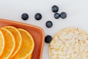 fresh oranges and blueberries